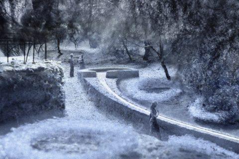 Studie in Plan und Modell über die Gestaltung eines neuen Wasserlaufes im alten Stadtgraben von Bischofszell. (Quelle: Barão-Hutter)